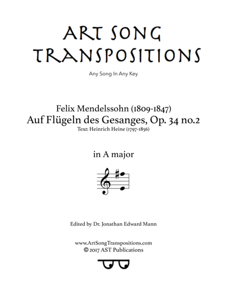 Auf Flügeln des Gesanges, Op. 34 no. 2 (A major)