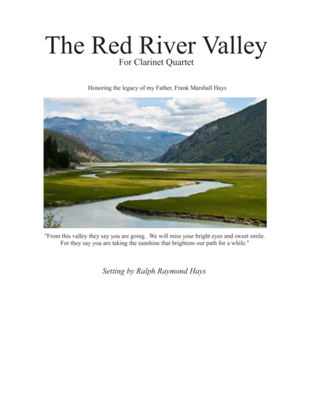 The Red River Valley (for Clarinet Quartet SSSB or SSAB)