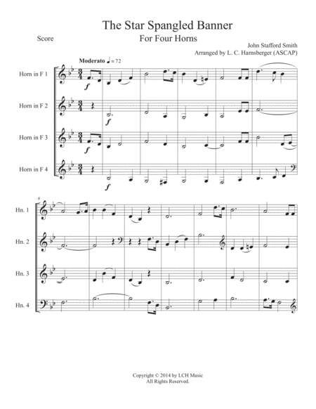 The Star Spangled Banner for Horn Quartet