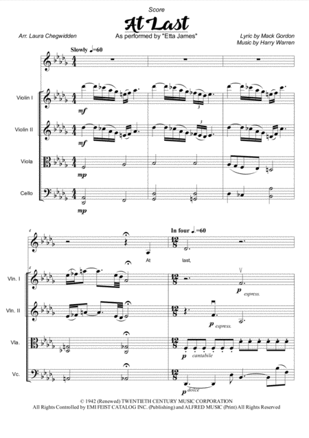At Last for Voice and String Quartet (Db Major)