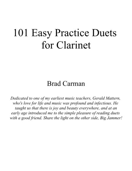 101 Easy Practice Duets for Clarinet (Below the Break)