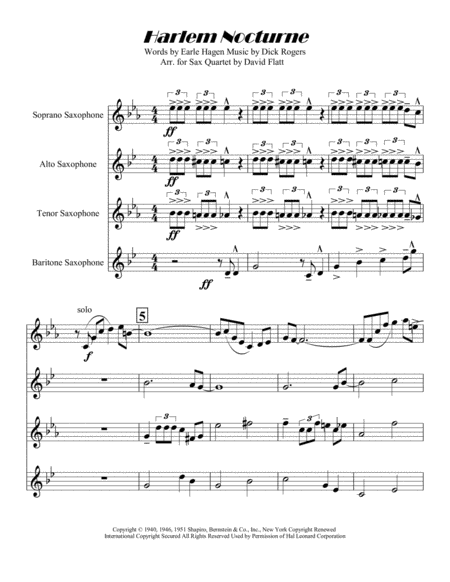 Harlem Nocturne for SATB Sax Quartet