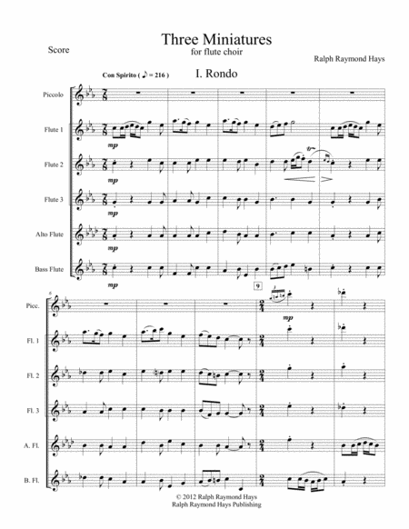 Three Miniatures for Flute Choir