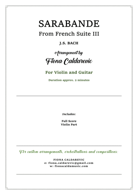 Sarabande from Bach's French Suite III - for violin and guitar