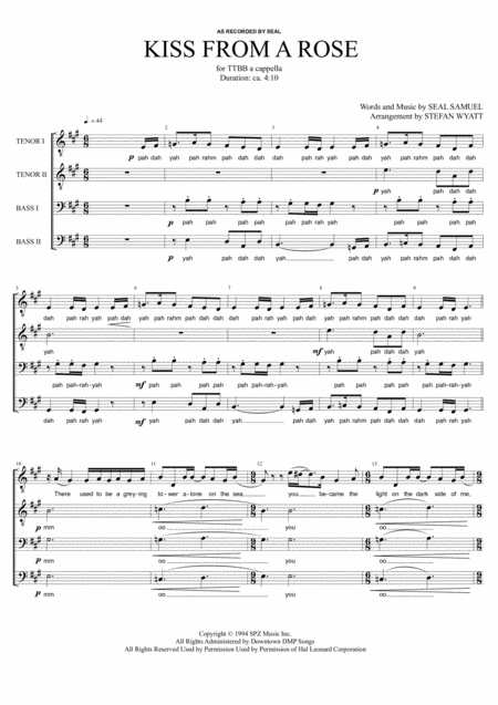 Kiss From A Rose - TTBB a cappella