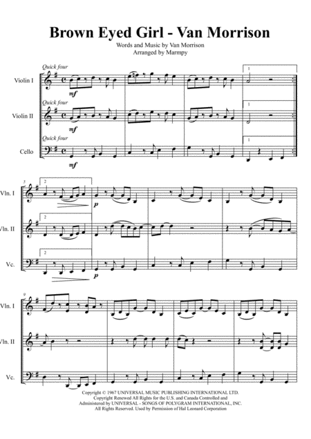Brown Eyed Girl - by Van Morrison (arranged for String Trio)