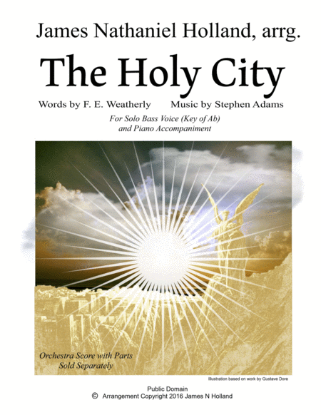 The Holy City for Solo Bass Voice and Piano (Key of Ab)