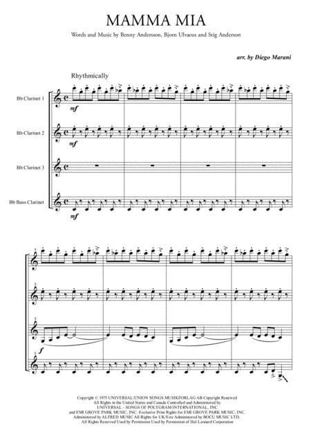 Mamma Mia by ABBA for Clarinet Quartet