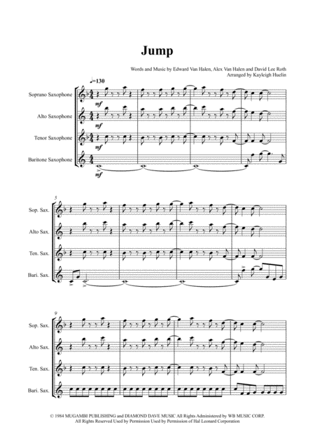 Jump - Saxophone quartet (SATB)