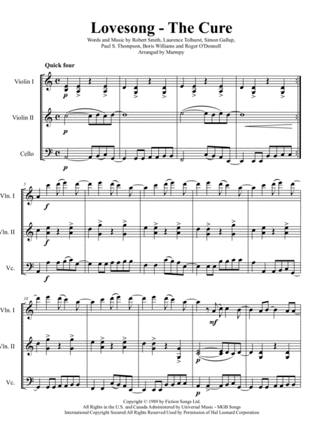 Lovesong - The Cure (arranged for String Trio)