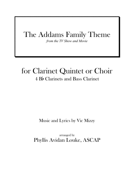 The Addams Family Theme for Clarinet Choir