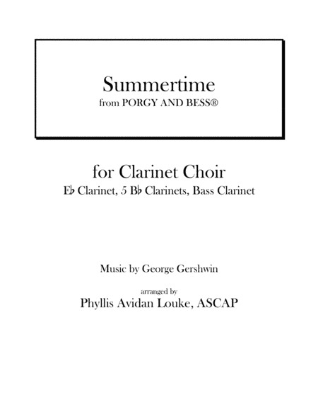 Summertime FOR CLARINET CHOIR