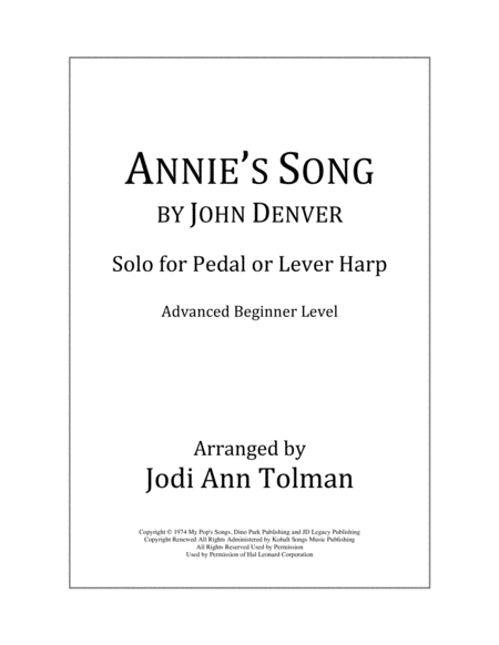 Annie's Song by John Denver, Harp Solo