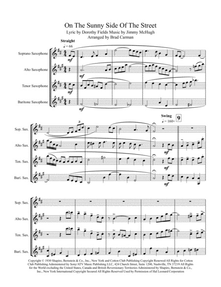 On The Sunny Side Of The Street - for SATB Saxophone Quartet