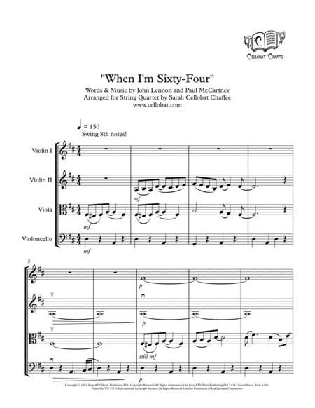 When I'm Sixty-Four - String Quartet - the Beatles arr. Cellobat