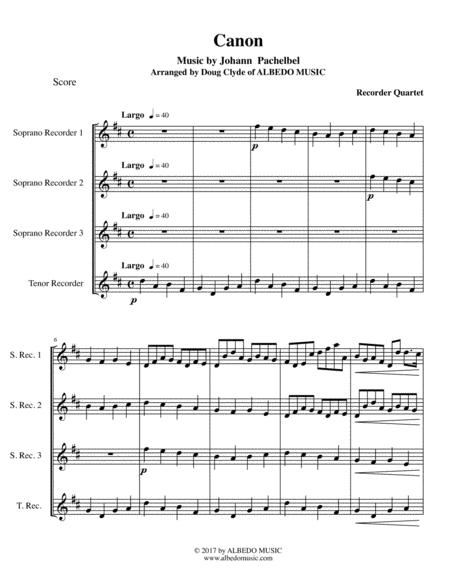 Pachelbel's Canon for Recorder Quartet