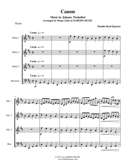 Pachelbel's Canon for Double Reed Quartet