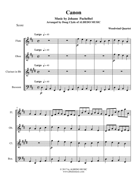 Pachelbel's Canon for Woodwind Quartet