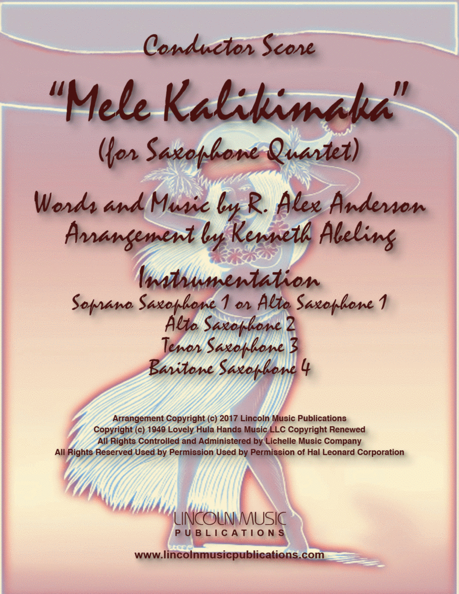 Mele Kalikimaka (for Saxophone Quartet SATB or AATB)