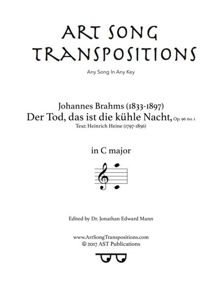 Der Tod, das ist die kühle Nacht, Op. 96 no. 1 (C major)