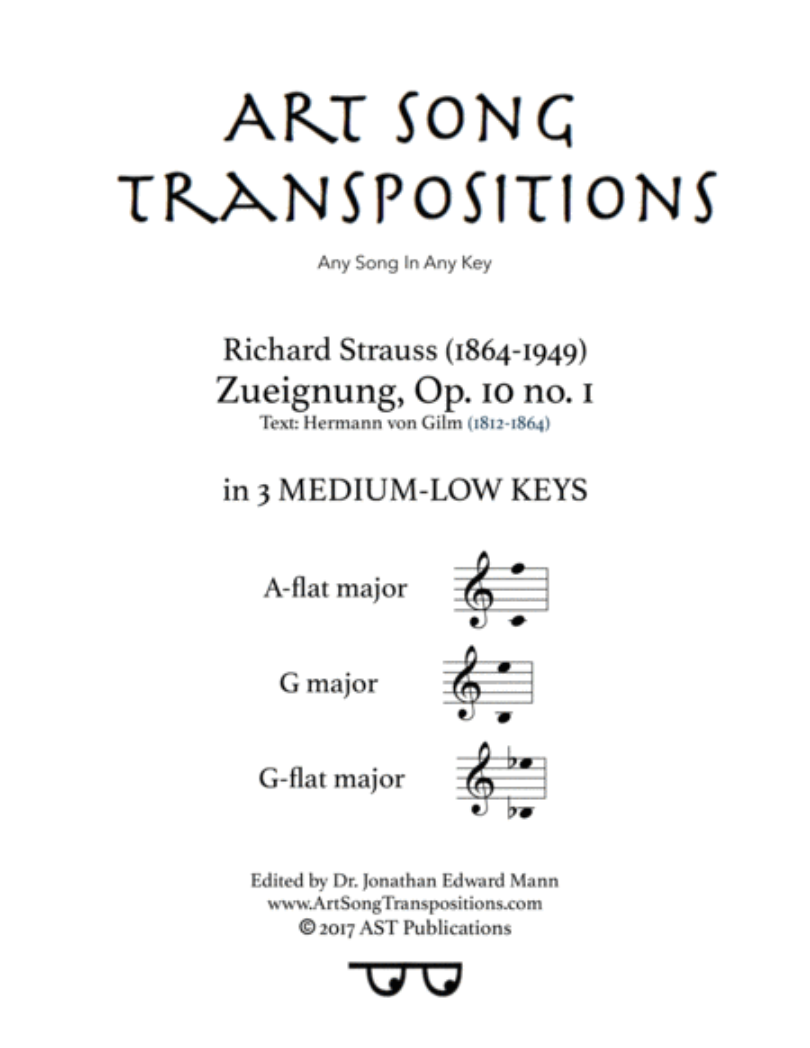 Zueignung, Op. 10 no. 1 (in 3 medium-low keys: A-flat, G, G-flat major)