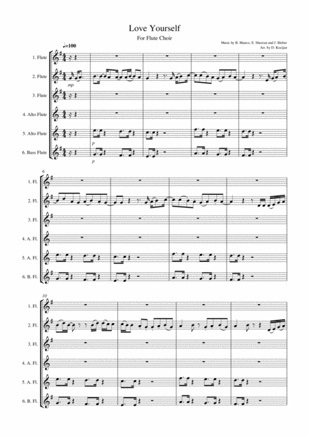 Love Yourself - For Flute Choir