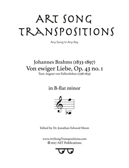Von ewiger Liebe, Op. 43 no. 1 (B-flat minor)