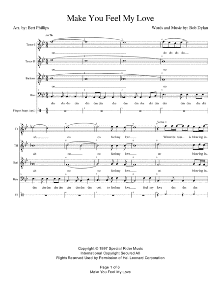 Make You Feel My Love - Male Quartet TTBB A cappella