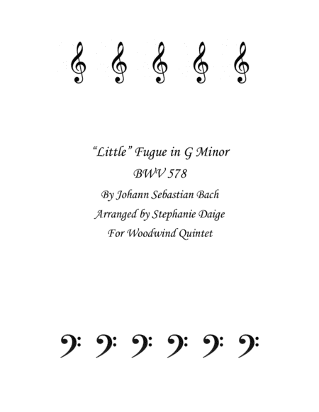Bach Little Fugue in G Minor for Woodwind Quintet BWV 578