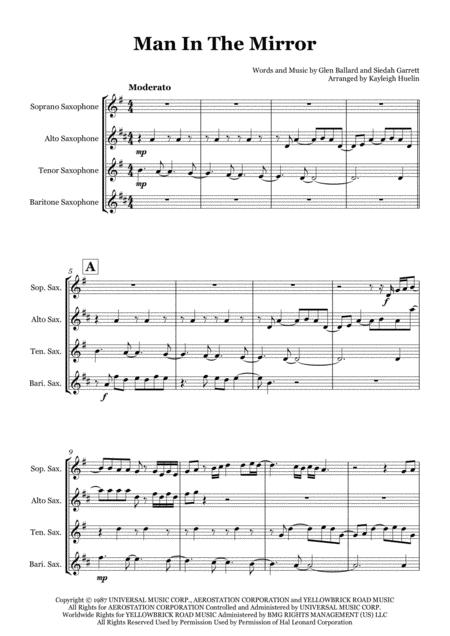Man In The Mirror by Michael Jackson - Saxophone quartet (SATB)