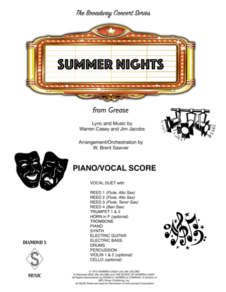 Summer Nights - PIANO/VOCAL SCORE