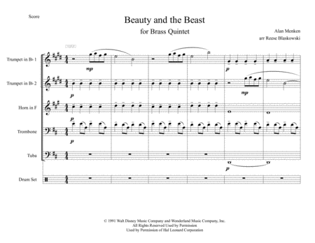 Beauty And The Beast - Brass Quintet