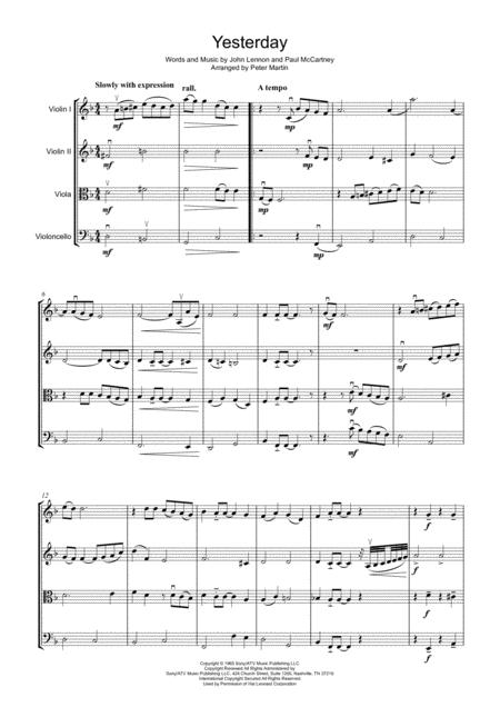 Yesterday - String Quartet