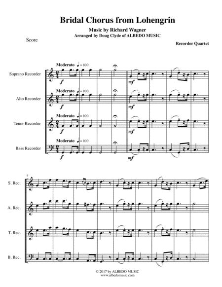 Wagner Bridal Chorus from Lohengrin for Recorder Quartet