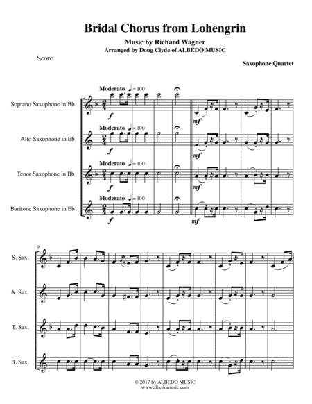 Wagner Bridal Chorus from Lohengrin for Saxophone Quartet