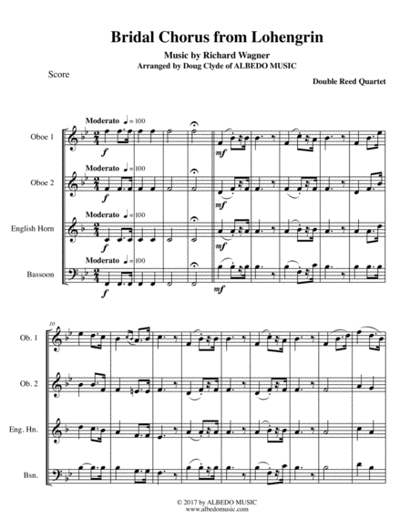Wagner Bridal Chorus from Lohengrin for Double Reed Quartet