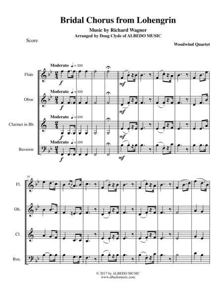 Wagner Bridal Chorus from Lohengrin for Woodwind Quartet