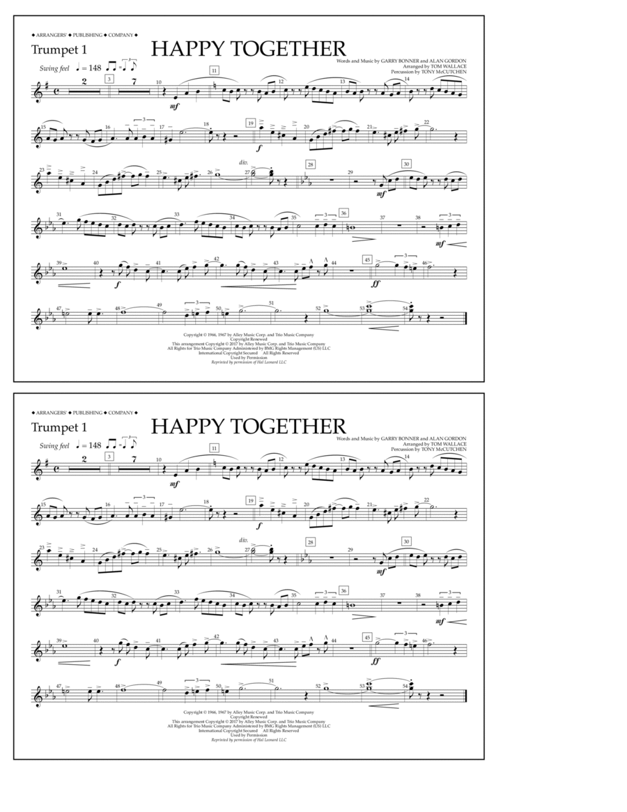 Happy Together - Trumpet 1