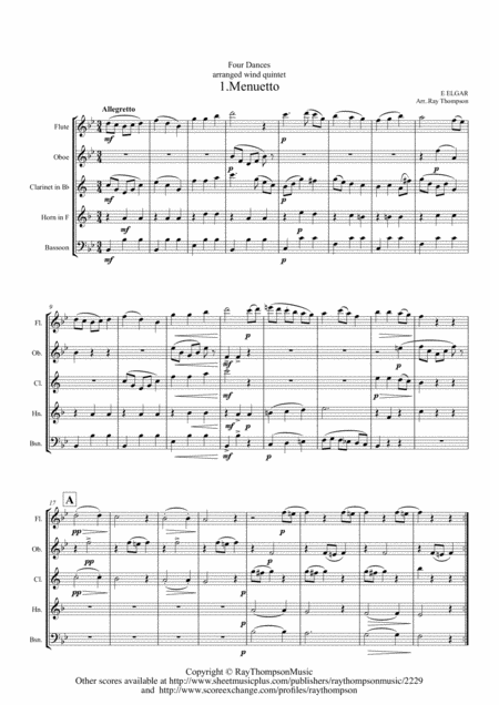 Elgar: Four Dances for Wind Quintet - wind quintet