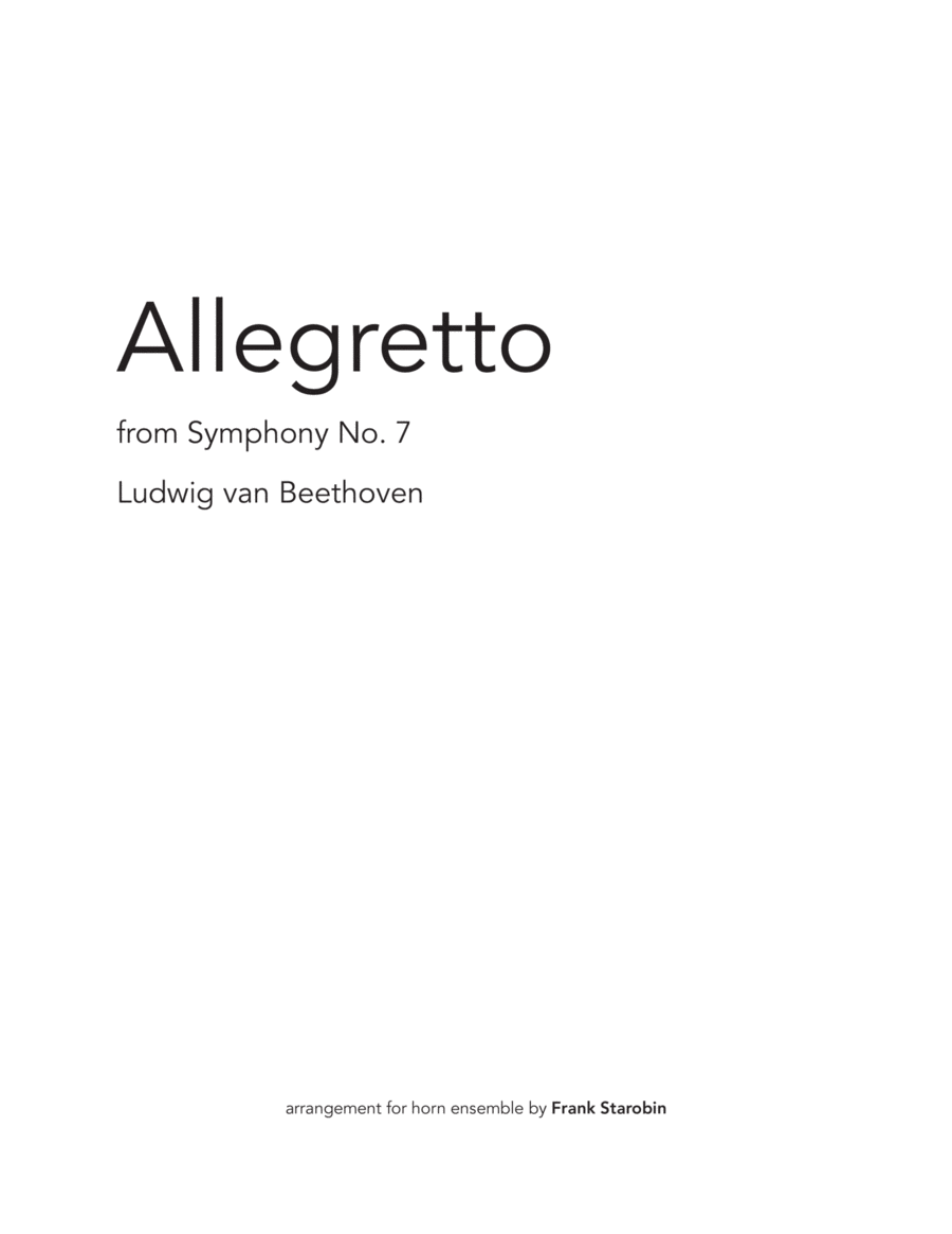 Allegretto from Symphony 7 for Horn Choir