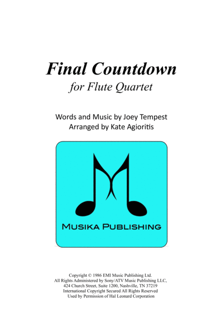 Final Countdown - for Flute Quartet
