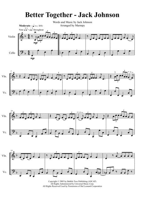 Better Together - Jack Johnson (arranged for String Duet)