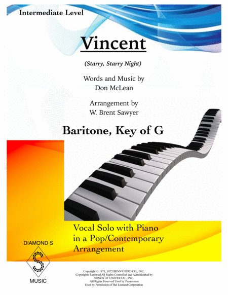 Vincent (Starry Starry Night) - Baritone Voice, key of G