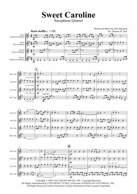 Sweet Caroline - Neil Diamond Classic - Saxophone Quartet
