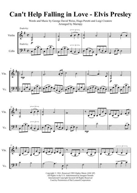 Can't Help Falling In Love (arranged for String Duet)