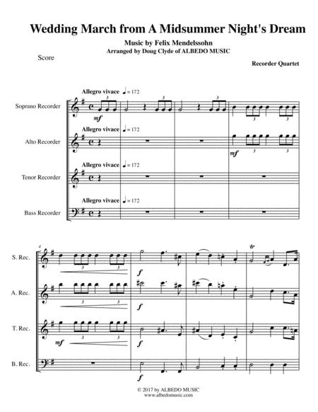 Mendelssohn Wedding March from A Midsummer Night's Dream for Recorder Quartet