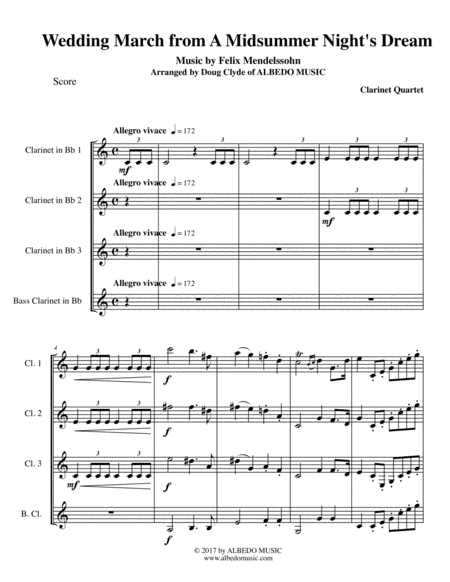 Mendelssohn Wedding March from A Midsummer Night's Dream for Clarinet Quartet