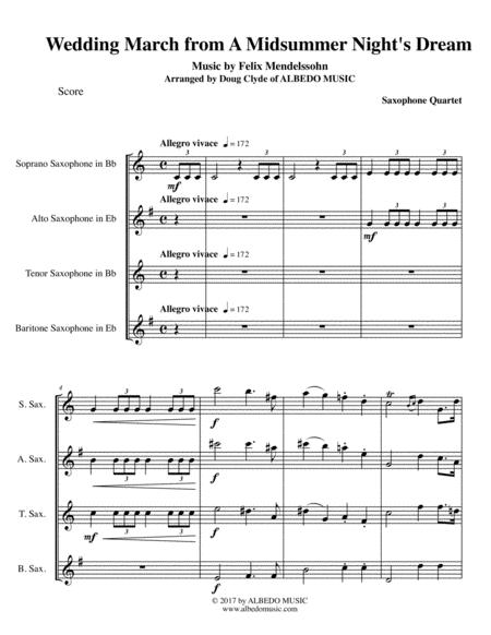 Mendelssohn Wedding March from A Midsummer Night's Dream for Saxophone Quartet