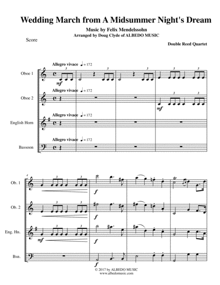 Mendelssohn Wedding March from A Midsummer Night's Dream for Double Reed Quartet