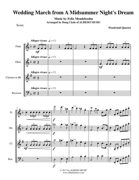 Mendelssohn Wedding March from A Midsummer Night's Dream for Woodwind Quartet
